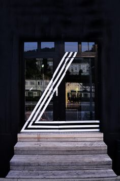 black and white facade anamorphosis