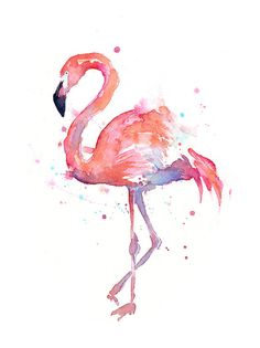 paintings of flamingos | Flamingo Watercolor Painting
