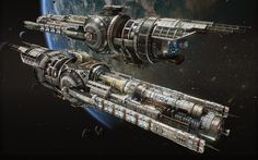 """United Space Research's """"Guardian"""" class battleship specializes in long-range combat, with unique movement & enemy displacement abilities to keep your opponents on their toes.  Rendered in Unreal Engine 4 - all asset & concept work by myself, with help from ECG lead artist Alex Clarke on the design of the ship. Background environment by Rob Blight."""