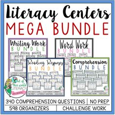 This Mega bundle is packed full of everything you need to run literacy centers for grades 2-6.  The students will practice comprehension skills while reading independently, books they've chosen that are just right for them.  Differentiate while covering all the most important components of reading!