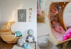 What infant or toddler wouldn't love to sleep in this fairytale moon crib or bed? Designed by Creme Anglaise, the moon crib retails at around - a bit pricey for us South Africans, but you could make your own moon crib or bed. Baby Bassinet, Baby Cribs, Moon Crib, Everything Baby, Cool Baby Stuff, Decoration, New Baby Products, Kids Room, Toddler Bed
