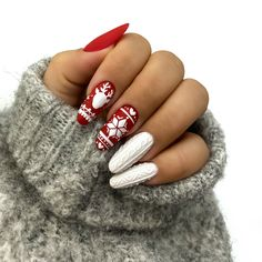 Xmas Nail Art, Xmas Nails, Christmas Nail Art Designs, Winter Nail Designs, Simple Nail Designs, Holiday Nails, Fall Nails, Summer Nails, Cute Nails