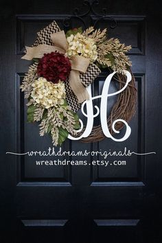 BEST SELLING Year Round Cream Hydrangea Wreath for Front Door - Grapevine Wreath with Burlap and Initial - Monogram Everyday Wreath Chevron Burlap, Burlap Ribbon, Chevron Bow, Front Door Decor, Wreaths For Front Door, Fall Wreaths, Christmas Wreaths, Ribbon Wreaths, Tulle Wreath