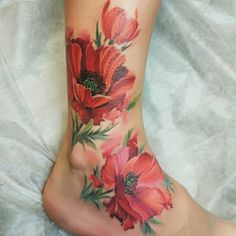 Love this, tho painful spot Leg Tattoos Women, Mom Tattoos, Future Tattoos, Body Art Tattoos, Tattos, Pretty Tattoos, Beautiful Tattoos, Poppies Tattoo, Watercolor Flower Tattoos