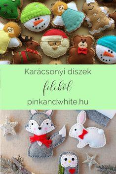 Karácsonyi díszek filcből - 12+1 ötlet | Pink & White Pink White, Christmas Ornaments, Halloween, Holiday Decor, Blog, Diy, Bricolage, Christmas Jewelry, Blogging