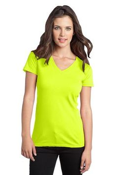 District - Juniors The Concert Tee V-Neck Style DT5501 #neon #yellow #tees #shirts #tops