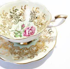 Vintage Tea Cup Pink Rose Gold / Antique / Vintage Tea Cup / Made in England~ Cup & Saucer~ Floral by BeauTeaStudio on Etsy https://www.etsy.com/listing/279049316/vintage-tea-cup-pink-rose-gold-antique