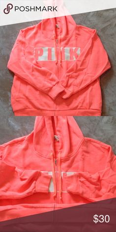 PINK VICTORIA SECRET ZIP UP BASICALLY NEW! THE SWEATER IS IN PERFECT CONDITION ABSOLUTELY NO PILLING ON ANY OF THE EDGES AS CAN BE SEEN IN THE SECOND PICTURE. PLEASE FEEL FREE TO ASK ANY QUESTIONS! PINK Victoria's Secret Jackets & Coats