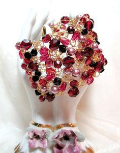 Ruby Pink Crocheted Wire Beaded Bracelet handmade by HettyMarie