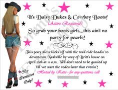 Daisy Dukes & Cowboy Boots Bachelorette Party Invitations