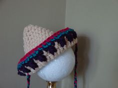 Photo Prop - Crocheted Mexican Sombrero hat for infant, newborn- Ready to Ship