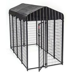 Lucky Dog Outdoor Kennel with Cover - Lucky Dog Uptown Dog Kennel With Cover, Includes Decorative Weatherproof Kennel Cover, Industrial Stainless Steel Components, Powder Coat Frame Lucky Dog Kennel, Silver Bedding, Dog Kennel Cover, Dog Pen, Dog Shop, Pet Safe, Outdoor Dog, Dog Supplies, Best Dogs