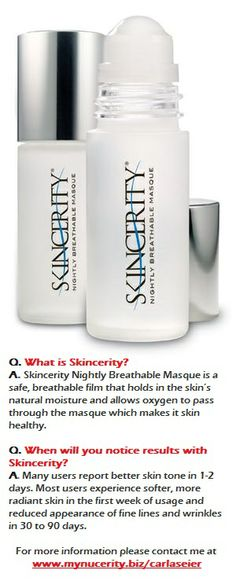 SKINCERITY Q & A Contact me www.mynucerity.biz/traceychapman or email tracey@artisticbydesign.com.au We can deliver around the world.
