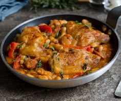 Chicken sausage with white beans - Kolbászos csirke fehér babbal Recept képpel - Mindmegette. Meat Recipes, Cooking Recipes, Mexican Chicken Casserole, Chicken Recepies, Carne Picada, Warm Food, Hungarian Recipes, Slow Food, Cold Meals