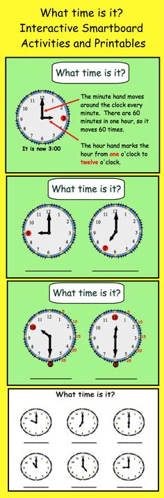 What Time Is It? Smartboard Interactive Lesson And Printables