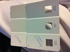 Possible paint colors - Valspar polar star & gravity for the bedroom and comet dust & Norte dame for the bathroom.