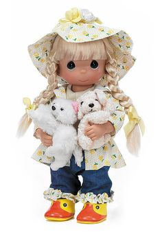 Precious Moments Dolls by The Doll Maker, Linda Rick, Raining Cats and Dogs, 12 inch doll Porcelain Doll Costume, Precious Moments Figurines, Raining Cats And Dogs, Just Because Gifts, Vinyl Dolls, Doll Maker, Cute Dolls, Dog Cat, Plush