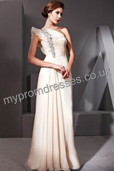 Floor Length One-shoulder apricot Chiffon A-line Evening Dress  http://www.mypromdresses.co.uk