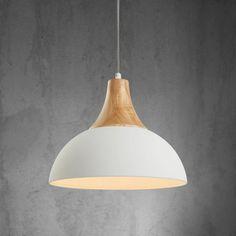 Hängeleuchte in Weiß und Holzfarben - schlicht und stilvoll für Ihr Zuhause