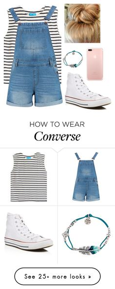 """Overalls and Converse"" by deewall12 on Polyvore featuring M.i.h Jeans, Boohoo, Converse and Gas Bijoux"