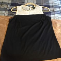 Embellished Neckline Black & White Tank Worn 1x in EEUC. Has all jewels, white mesh top and solid black body. Worthington Tops