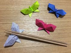 Simple origami chopstick rest #2, folded out of a chopstick wrapper - YouTube