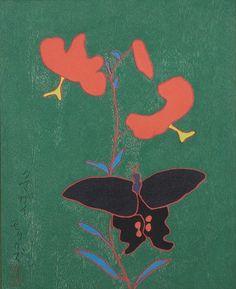 熊谷 守一 - ゆりと蝶(1962)