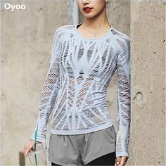 12f5601222 Oyoo Wanderer Long Sleeve Top Sky Blue Cutout Workout Yoga Tops Women Sport  Gym Shirts