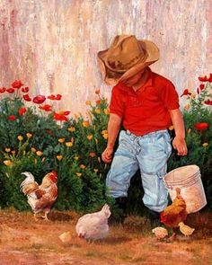 Drew - June Dudley Fine Art Paintings and Prints Chicken Painting, Chicken Art, Country Art, Country Life, Art Pictures, Photos, Chickens Backyard, Western Art, Beautiful Children