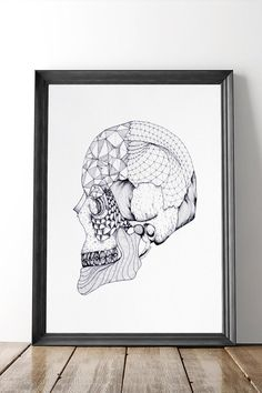 """Modern  Edgy this black and white anatomy print is a great illustration of form & design. Illustrated by Rachelle Wunderink. Pen & ink reproduction. Print is 8""""x10"""". The product is unframed and shipped in a protective sleeve. Skull Anatomy Print by Dime & Regal. Home & Gifts - Home Decor - Wall Art Michigan"""