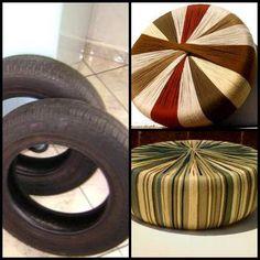 borracha: pneu + tecido: malha: puff