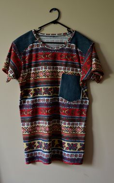 Limited edition Red Aztec mens tee by Hold Your Horses. Denim front chest pocket and shoulder yoke. Available in size S,M,L $60
