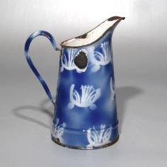Vintage French Enamelware Blue and White Pitcher, Stenciled Pattern