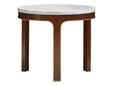 Take Five Interlude Round End Table with Carrara Marble by Lexington Furniture