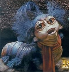 """""""If she'd have gone that way, she'd have gone straight to that castle!"""" Watching the Labyrinth with Evie and realised this worm is our favourite character (except David Bowie as the Goblin King) Labyrinth Worm, Bowie Labyrinth, Labyrinth Movie, Labyrinth Tattoo, Sarah Labyrinth, David Bowie, Kobold, Fraggle Rock, Goblin King"""
