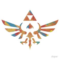 The Skyward Sword crest from Zelda with a painted look.  #zelda #link #triforce #ocarina #time #majoras #mask #wind #waker #twilight #princess #skyward #sword #hylian #hyrule, #crest #nintendo