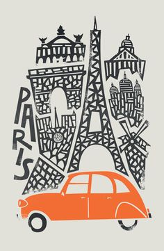 Fox and Velvet invite you to a world tour of emblematic cities, in a naïve and minimalist graphic style. Here a design of Paris, city of France. Art-Poster and prints published by Wall Editions. Illustration Format : 50 x 70 cm Paris Kunst, Paris Art, Illustration Design Graphique, Travel Illustration, Illustration Parisienne, Art Parisien, Paris Poster, Plakat Design, Kunst Poster