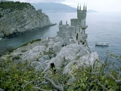 Swallow's Nest Castle, Ukraine  The neo-Gothic Swallow's Nest castle perches 130 feet (40 meters) above the Black Sea near Yalta in southern Ukraine. Built by a German noble in 1912, the flamboyant seaside residence now houses an Italian restaurant.