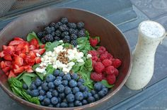 homemade creamy poppyseed dressing with red white and blue salad