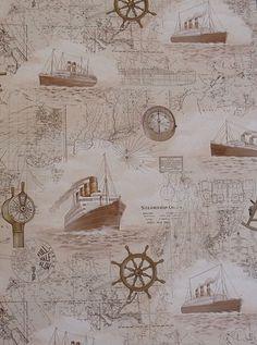 Rasch Steam Ships Nautical Wallpaper Sepia Beige 821918