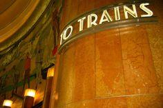 "Beautiful image of the art deco lettered ""To Trains"" sign at Union Terminal in Cincinnati, Ohio. Amsterdam Pictures, Cincinnati Museum, Deco Font, Art Deco Buildings, Glass Facades, Art Deco Wedding, Architecture, Art Deco Fashion, Beautiful Images"
