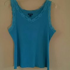 Apt 9 Turquoise Lace Trim Tank Top New without tags. 100% cotton ribbed tank top with lace trim around the neckline and arm openings. Size XL. Machine wash cold and tumble dry low. Apt. 9 Tops Tank Tops