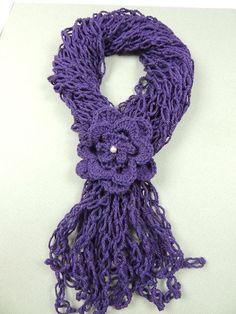Crochet : Bufanda con Flor y Punto Salomón