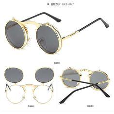 die 54 besten bilder auf brillen in 2019 eyewear, beautiful womenflip up gothic steampunk sunglasses women round brand designer metal retro men vintage sun glasses flat top clamshell goggles