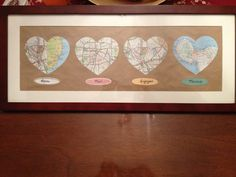 Born, met, engaged, married map cutouts for the bride & groom- wedding shower gift