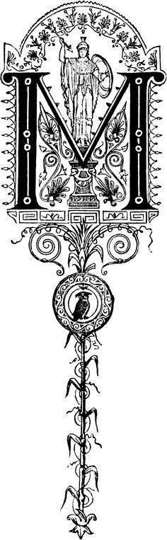 "Decorative initial letter ""M"" – Roman military"