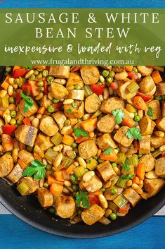 Looking for frugal comfort food? Sausage and bean stew will fill you up without draining your budget. It's full of veggies so healthy too. #frugalmeals Frugal Recipes, Healthy Recipes On A Budget, Frugal Meals, Budget Meals, Frugal Family, Frugal Living, Canellini Beans, Bean Stew, Vegetable Stew