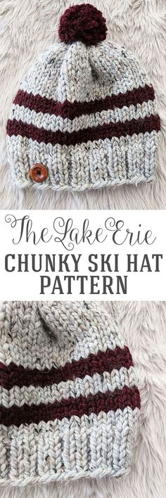 Lake Erie Chunky Skit Hat Pattern - Free Pattern by : Lake Erie Chunky Ski Hat Pattern – Free Knitting Pattern by Just Be Crafty Crochet Mittens, Knit Or Crochet, Knitted Hats, Crochet Hats, Mittens Pattern, Crochet Granny, Loom Knitting, Free Knitting, Beanie Knitting Patterns Free