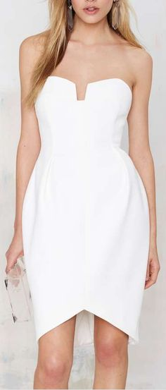 divide strapless dress