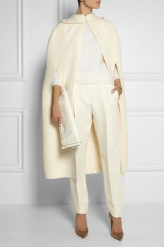 Valentino|Hooded wool and silk-blend cape